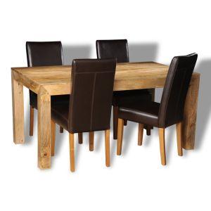 Light Mango Wood 160cm Dining Table & 4 Barcelona Chairs