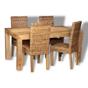 Dakota Light 160cm Dining Table & 4 Rattan Chairs