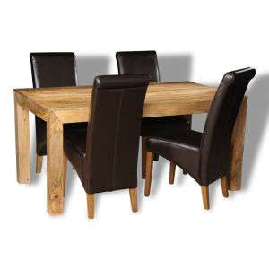 Dakota Light 160cm Dining Table & 4 Rollback Dining Chairs