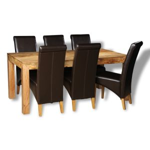 Mango Light 180cm Dining Table & 6 Rollback Chairs