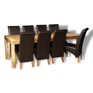 Mango Light 220cm Dining Table & 8 Rollback Chairs