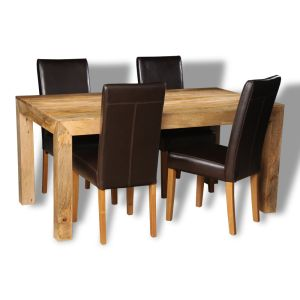 Light Dakota 160cm Dining Table & 4 Barcelona Chairs