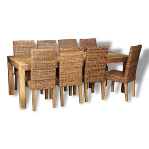 Dakota Light 220cm Dining Table & 8 Rattan Chairs