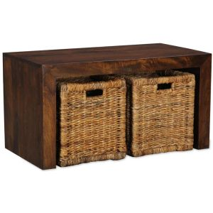 Mango Small Open Coffee Table with Rattan Baskets