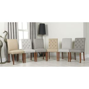 Set of 4 Milan Button Fabric Chairs
