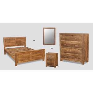 Small Double Cuba Natural Bedroom Package
