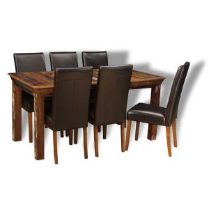 Reclaimed Indian Dining Table & 6 Barcelona Chairs