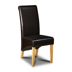 Brown Leather Rollback Dining Chair