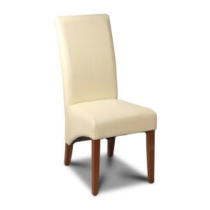 Cream Leather Rollback Dining Chair