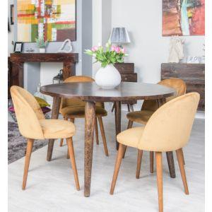 Vintage Mango Round Dining Table Large & 4 Zena Velvet Chairs