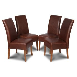 Set of 4 Antique Brown Madrid Leather Dining Chairs