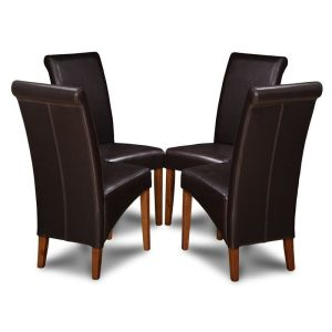 Set of 4 Brown Leather Rollback Dining Chairs