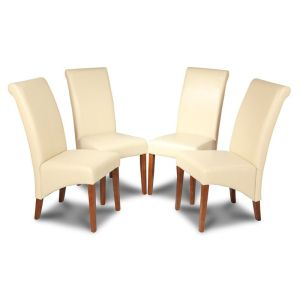 Set of 4 Cream Leather Rollback Dining Chairs