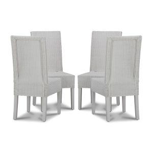 Lloyd Loom White Dynamo Dining Chairs x4