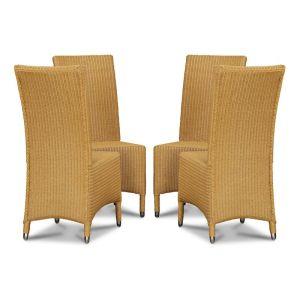 Lloyd Loom Natural Madera Dining Chairs x4