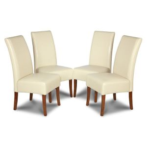 Set of 4 Cream Madrid Leather Dining Chairs