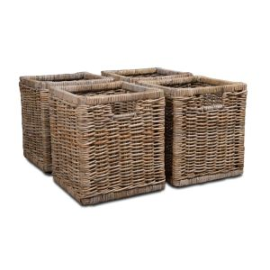 Set of 4 Rattan Wicker Baskets