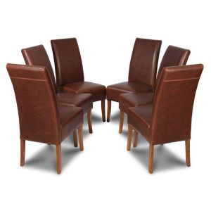 Set of 6 Antique Brown Madrid Leather Dining Chairs
