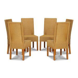 Lloyd Loom Natural Dynamo Dining Chairs x6