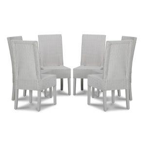 Lloyd Loom White Dynamo Dining Chairs x6