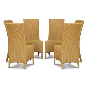 Lloyd Loom Natural Madera Dining Chairs x6