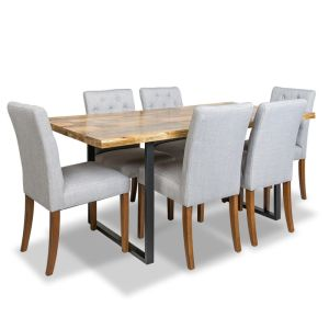 Large Industrial Dining Table &  6 Milan Button Fabric Chairs