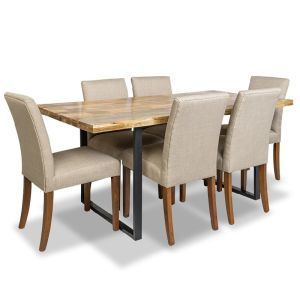 Large Industrial Dining Table & 6 Milan Fabric Chairs