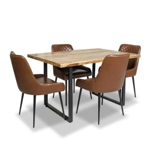 Industrial Dining Table & 4 Henley Faux Leather Chair