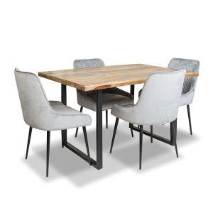 Industrial Dining Table & 4 Henley Velvet Chairs