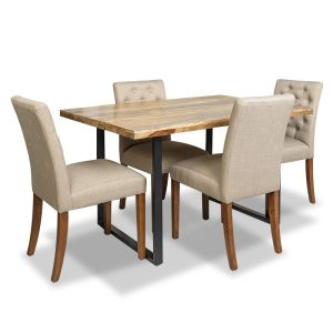 Industrial Dining Table & 4 Milan Button Fabric Chairs