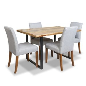 Industrial Dining Table & 4 Milan Fabric Chair