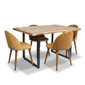 Industrial Dining Table & 4 Zena Velvet Chairs