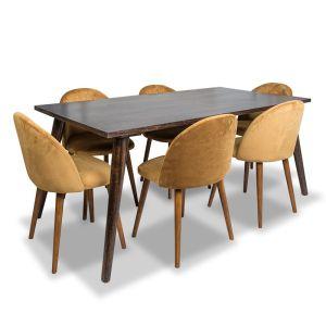 Vintage Mango Dining Table Large & 6 Zena Velvet Chairs