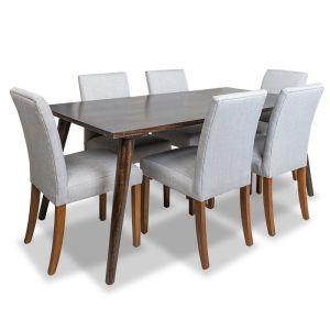 Vintage Mango Dining Table Large & 6 Milan Fabric Chairs