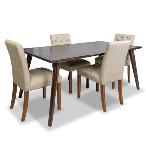 Vintage Mango Dining Table &  4 Milan Button Fabric Chairs