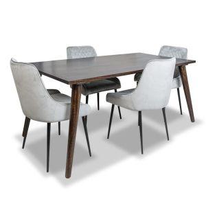 Vintage Mango Dining Table & 4 Henley Velvet Chairs