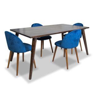 Vintage Mango Dining Table & 4 Zena Velvet Chairs
