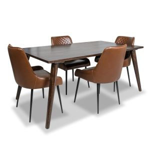 Vintage Mango Dining Table &  4 Henley Faux Leather Chairs