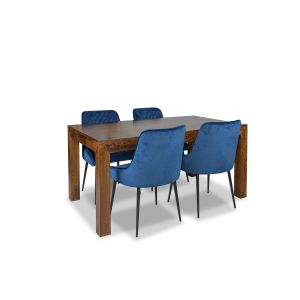 160cm Dakota Dining Table and 4 Henley Velvet Chairs