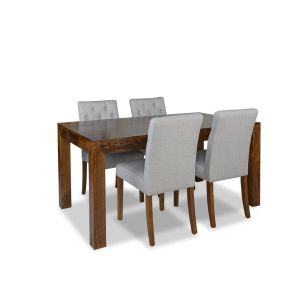 160cm Dakota Dining Table & & 4 Milan Button Fabric Chair