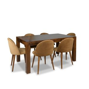 Dakota 180cm Dining Table & 6 Zena Velvet Chairs