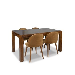 Dakota 160cm Dining Table & 4 Zena Velvet Chairs