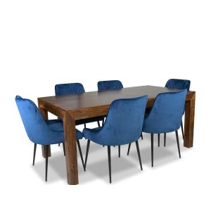 Dakota 180cm Dining Table & 6  Henley Velvet Chairs