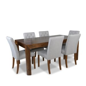 Dakota 180cm Dining Table & 6 Milan Button Fabric Chairs