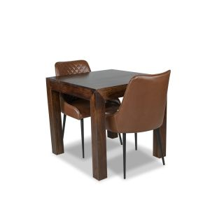 80cm Mango Wood Dining Table & 2 Henley Faux Leather Chairs