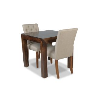 80cm Mango Wood Dining Table & 2 Milan Button Fabric Chair