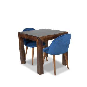 80cm Mango Wood Dining Table & 2 Zena Velvet Chair