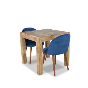 Light Dakota 80cm Dining Table & 2 Zena Velvet Chairs
