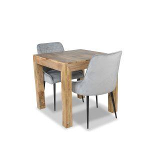 Mango Light 80cm Dining Table & 2 Henley Velvet Chairs