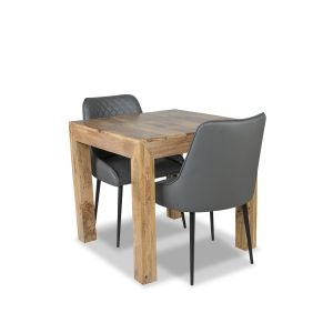 Light Dakota 80cm Dining Table & 2 Henley Faux Leather Chairs